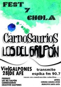 Afiche Fest y Chola 2012 en los galpones de AFE Santa Lucía - transmite espika fm 90.7